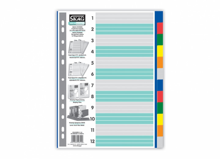 Indexes - Coloured, 12 sheets