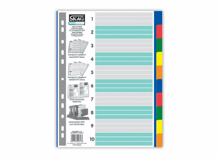 Indexes - Coloured, 10 sheets