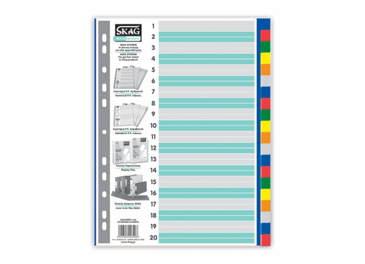 Indexes - Coloured, 20 sheets