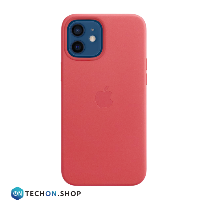 iPhone 12 Leather PU Case - Light Red
