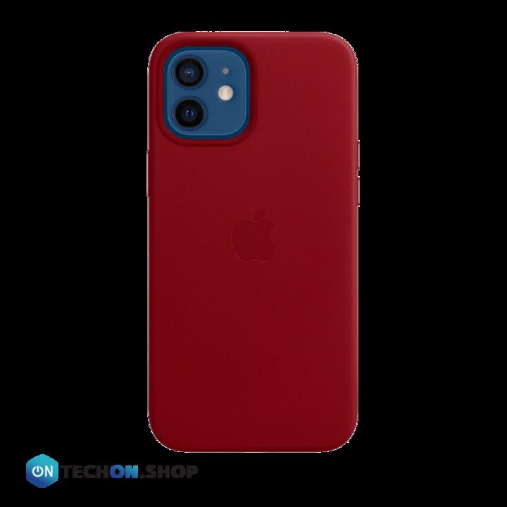 iPhone 12 Leather PU Case - Dark Red