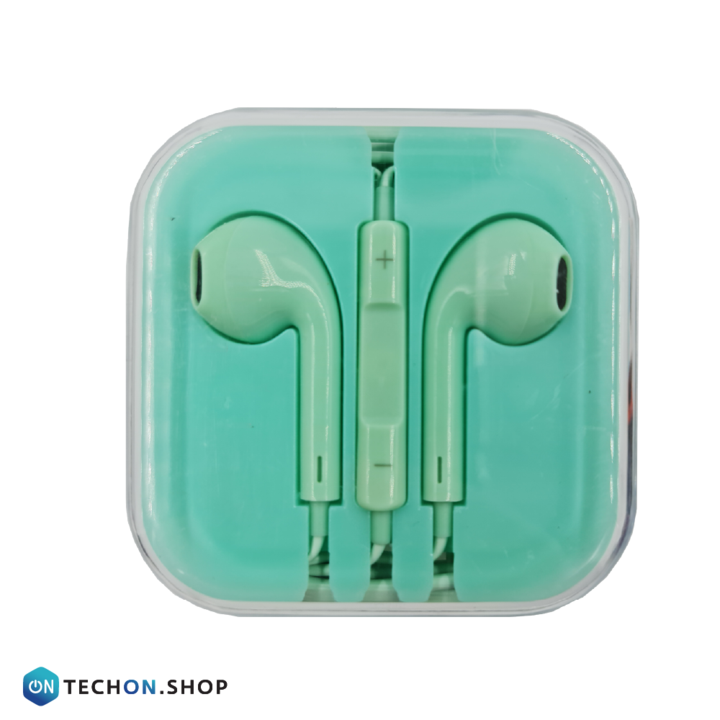 Wired Earphones with Mic - Turquoise