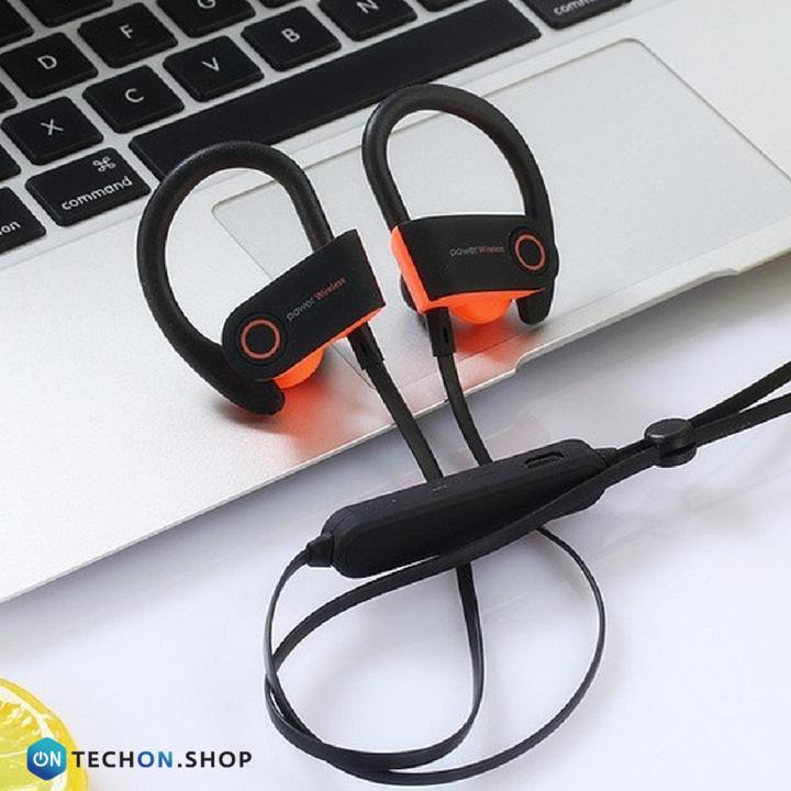Bluetooth Earphones - Power - Black/Orange