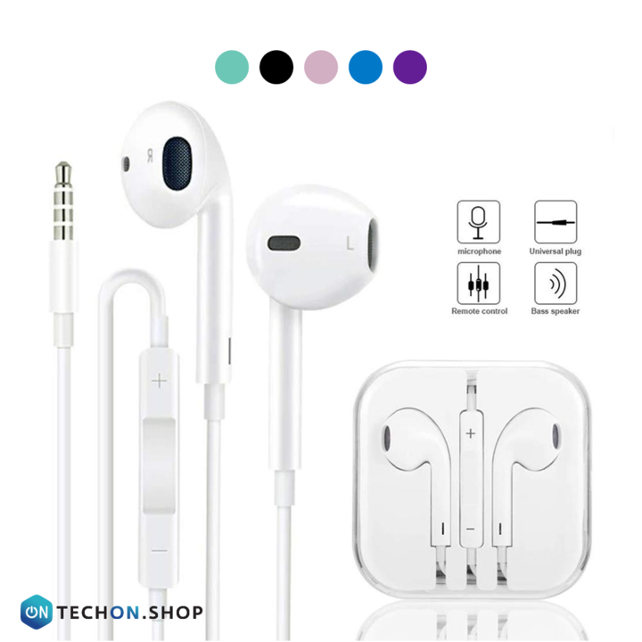 Wired Earphones with Mic - White