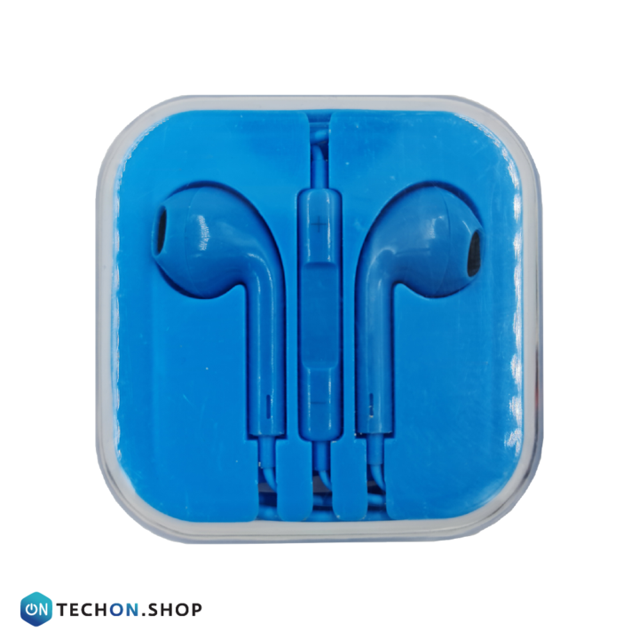 Wired Earphones with Mic - Blue