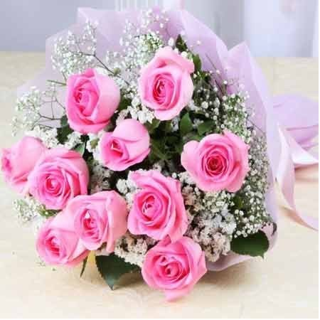 10 Roses Pink Bouquet