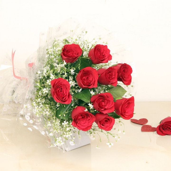 10 Roses Red Bouquet