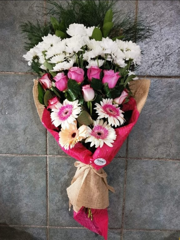 Bouquet Of White And Pink Various Flowers