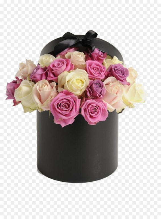 Box With Pink And White Roses Small