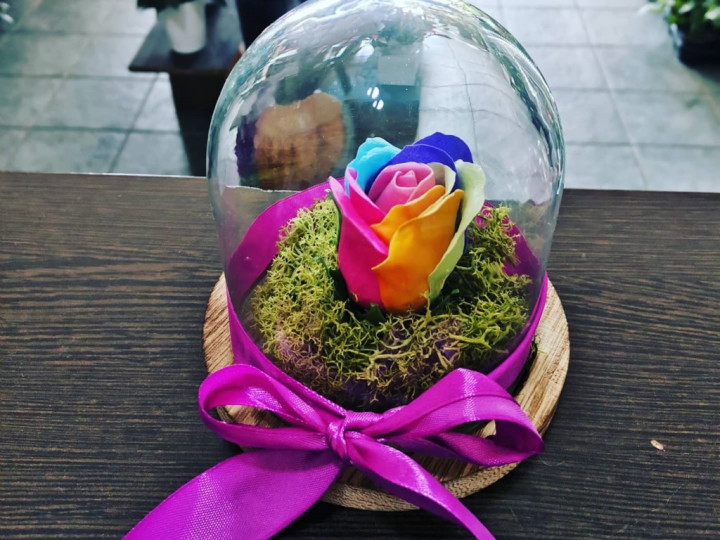 Rainbow Forever Rose In A Jar