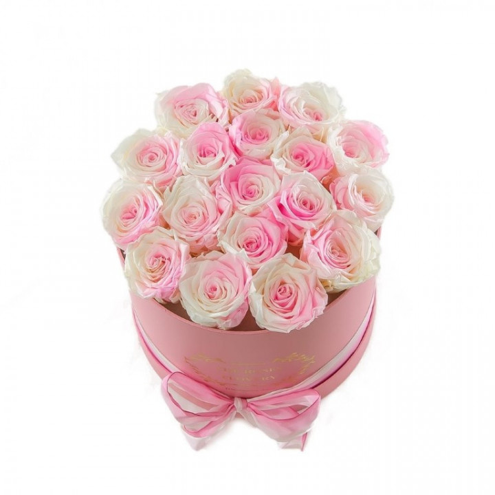 Box With Pink And White Roses Medium