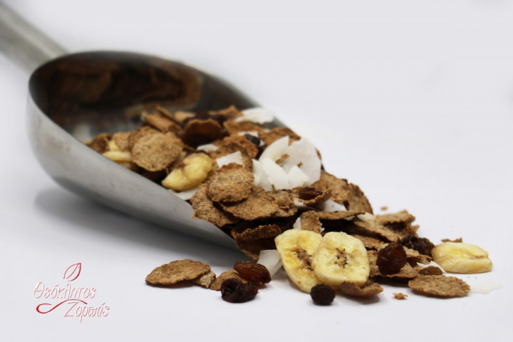 Bran Flakes mix with Banana, Coconut Flakes, and Raisins / Νιφάδες πίτουρου με μπανάνα, νιφάδες καρύδας και σταφίδες - 0.5kg
