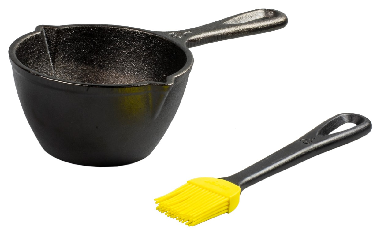 Lodge Cast iron melting pot with silicon brush