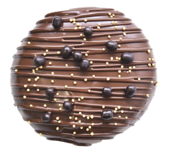 601. Praline filling & Dark Chocolate glaze | Ντόνατ με γέμιση πραλίνας φουντουκιού και επικάλυψη σκούρας σοκολάτας, γαρνιρισμένο με πέρλες σοκολάτας