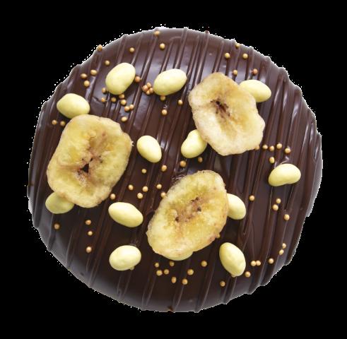 608. Banana filling & Dark Chocolate glaze | Ντονατ με γέμιση κρέμα μπανάνας και  επικάλυψη σκούρας σοκολάτας, γαρνιρισμένο με αποξηραμένες μπανάνες