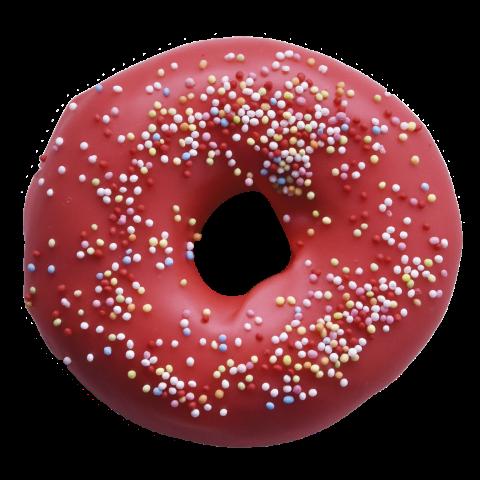 504. Strawberry Ring | Ντόνατ με επικάλυψη γλάσου φράουλας, γαρνιρισμένο με πολύχρωμη τρούφα