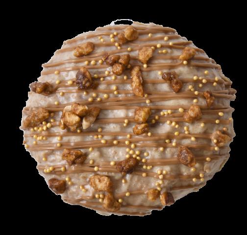 607. Toffee filling & Salted Caramel glaze | Ντονατ με κρέμα καραμέλας βουτύρου και επικάλυψη τραγανής αλμυρής καραμέλας, γαρνιρισμένο με κηρήθρες καραμέλας