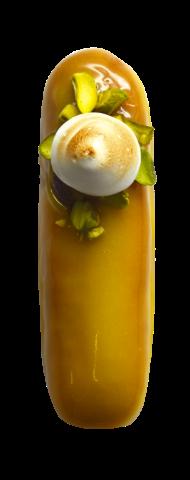 703. Lemon Meringue | Γέμιση κρέμας λεμονιού με επικάλυψη γλάσο λεμόνι, γαρνιρισμένο με Ιταλική μαρέγκα και χαλεπιανό