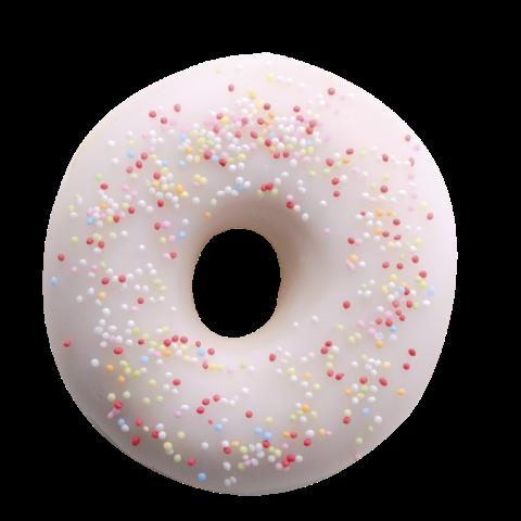 503. White Sugar Ring | Ντόνατ με επικάλυψη γλάσου ζάχαρης, γαρνιρισμένο με πολύχρωμη τρούφα