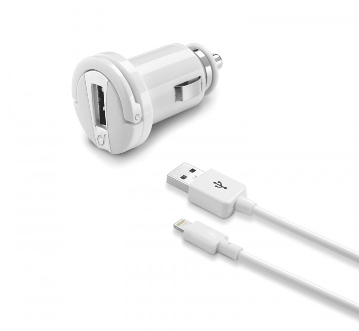 Cellular Line, USB Car Charger Kit 10W - Lightning - iPhone, iPad, iPod