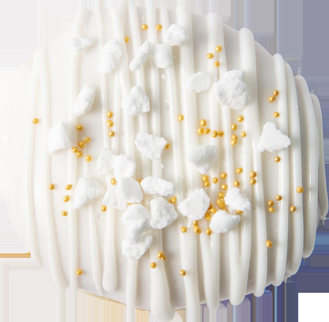 602. Vanilla Cream filling & Sugar glaze | Ντόνατ με γέμιση κρέμας βανίλιας και επικάλυψη γλάσου ζάχαρης, γαρνιρισμένο με άσπρες μαρέγκες