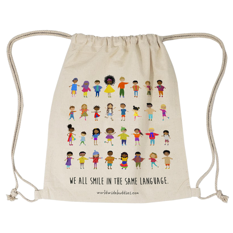 Smiles Drawstring Bag / School Bag / Bag for Kids