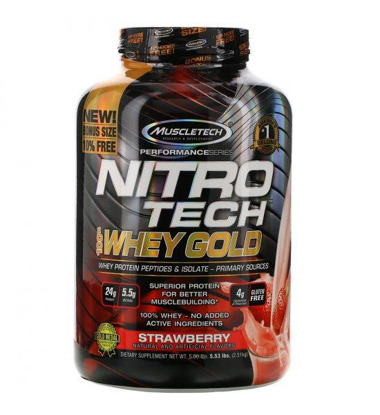 MUSCLETECH NITRO TECH 100% WHEY GOLD 2500G - Strawberry