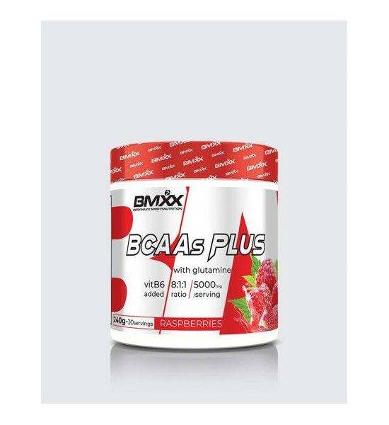 BCAAS PLUS 8:1:1- BRANCHED CHAIN AMINO ACIDS WITH GLUTAMINE AND VIT B6 - Raspberry