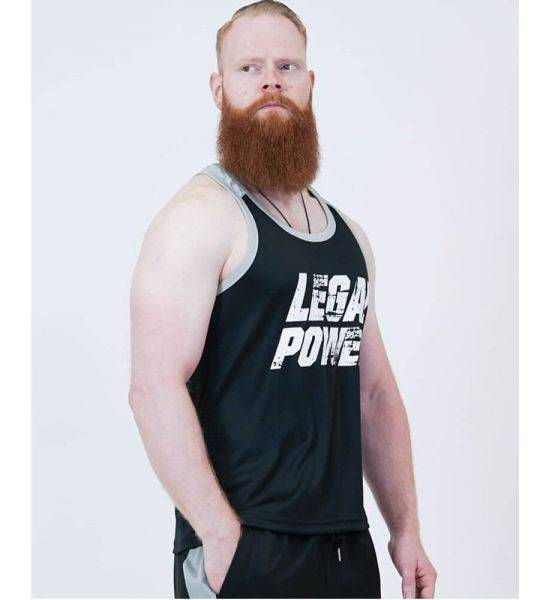 """MESH MUSCLE TANK TOP """"LEGAL POWER"""" Black - Size S"""