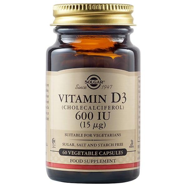 SOLGAR VITAMIN D3 600IU 15MG 60 vegetable capsules