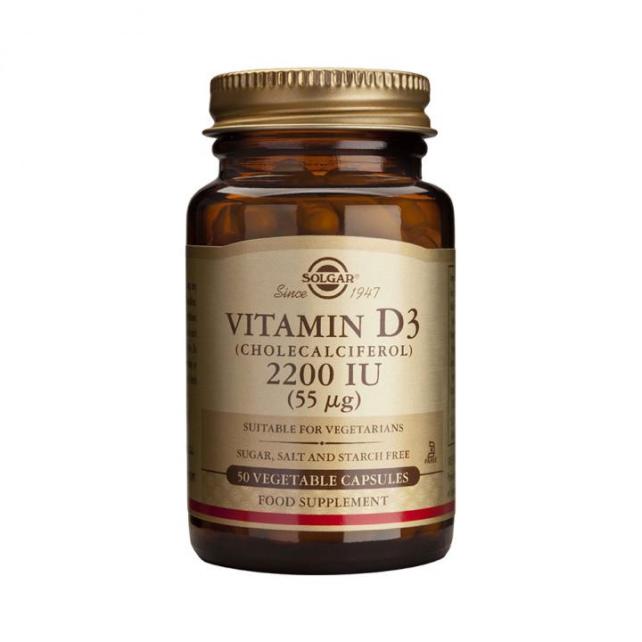 SOLGAR VITAMIN D3 2200IU 50 vegetable capsules