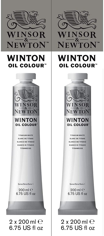 Winsor & Newton Winton Oil Color Paint, 200-ml Tube, Titanium White Twin Pack