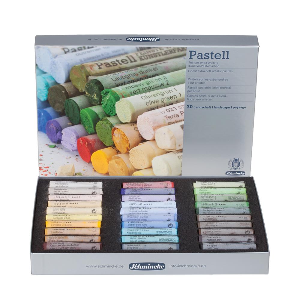 Schmincke Pastel cardboard set, landscape, with 30 pastels