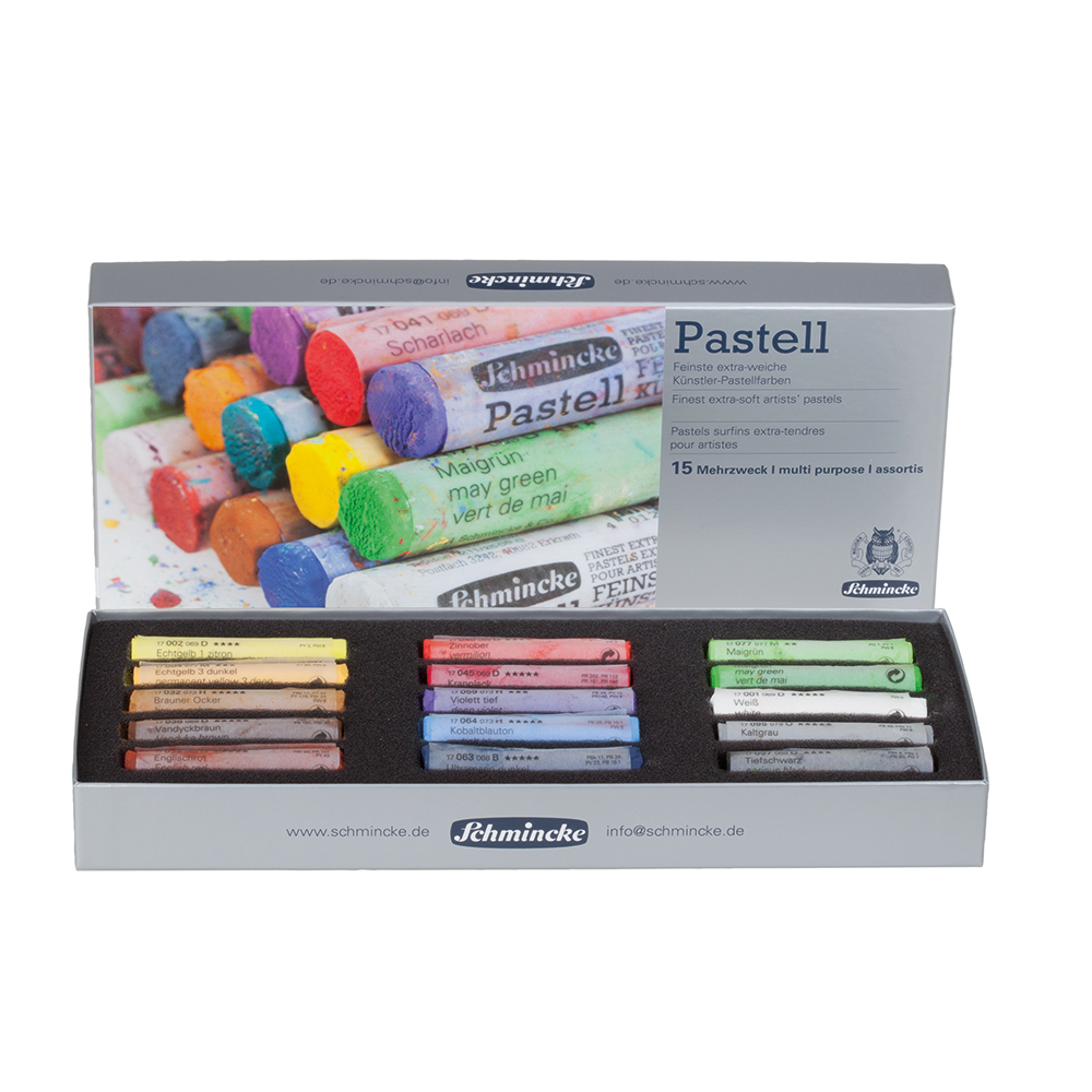 Schmincke Pastel cardboard set, multi-purpose, with 15 pastels