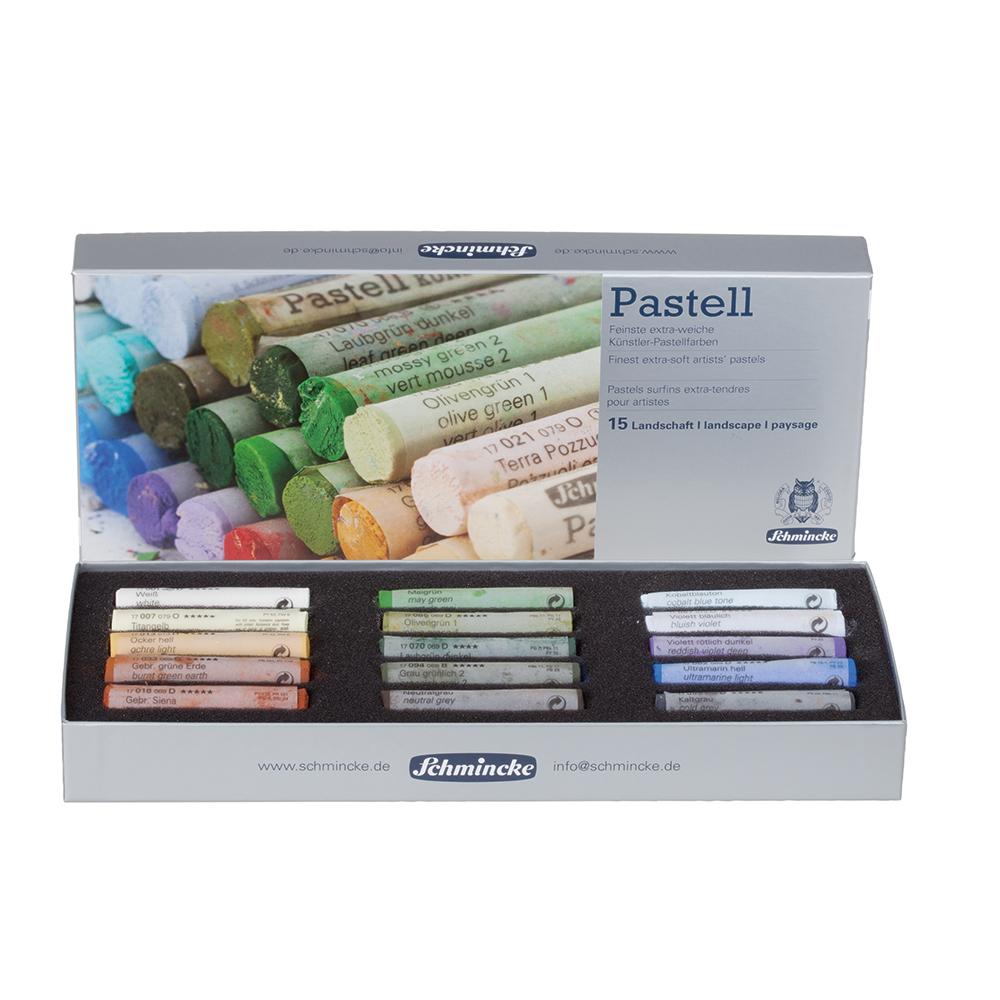 Schmincke Pastel cardboard set, landscape, with 15 pastels