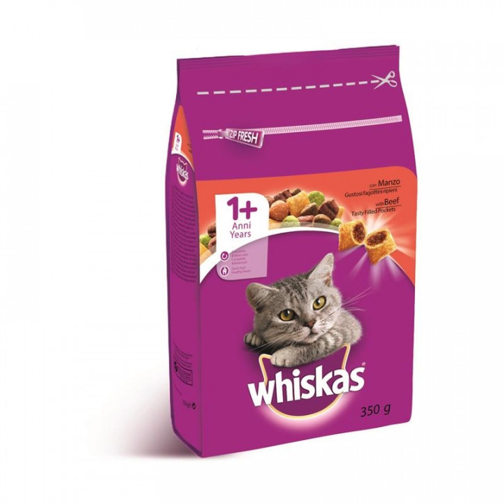 WHISKAS CAT ADULT DRY BEEF  350GR