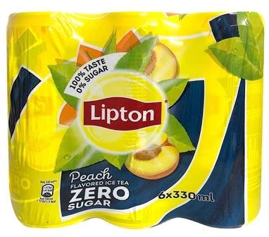 LIPTON PEACH ICED TEA NO SUGAR  6 X 330ML