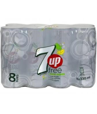 7UP FREE SOFT DRINK  8 X 330ML