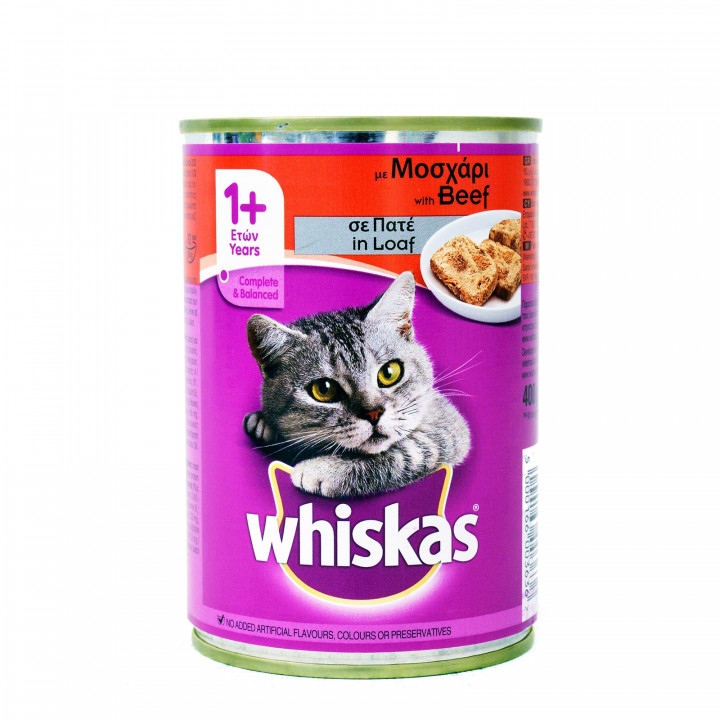 WHISKAS CAT FOOD TIN BEEF 400GR