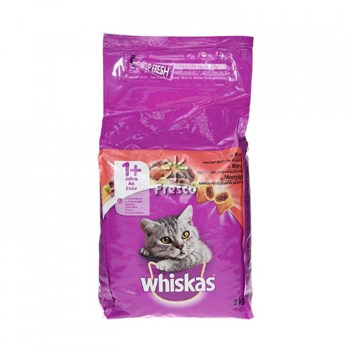 WHISKAS ADULT CAT DRY BEEF 2KG