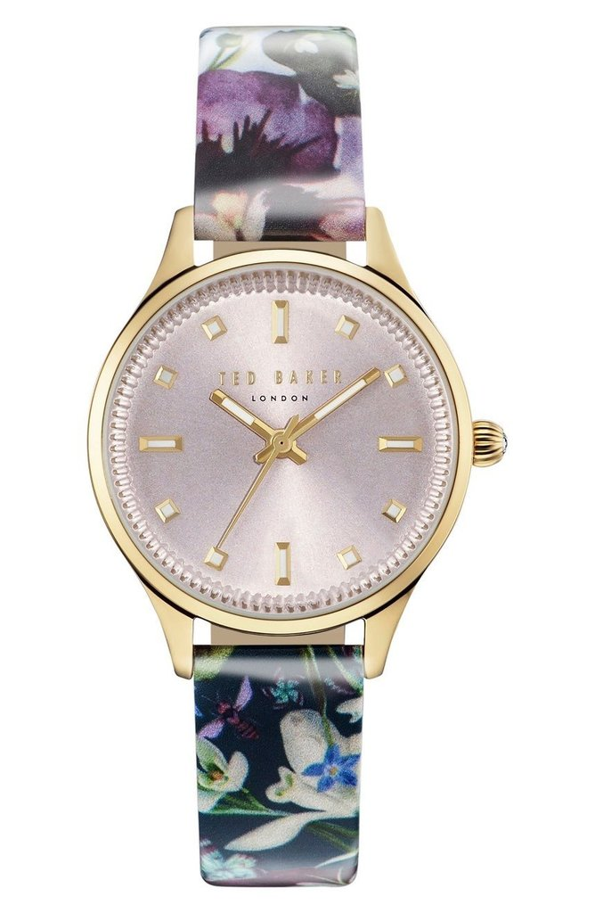 TED BAKER LADIES WATCH L/BLUE FLOWER/GOLD 32mm