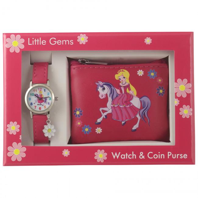 Little Gems Watch & Coin Purse Gift Set - Princess pink 24mm