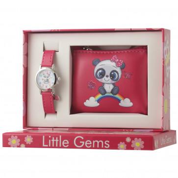 Little Gems Watch & Coin Purse Gift Set - Panda pink 24mm