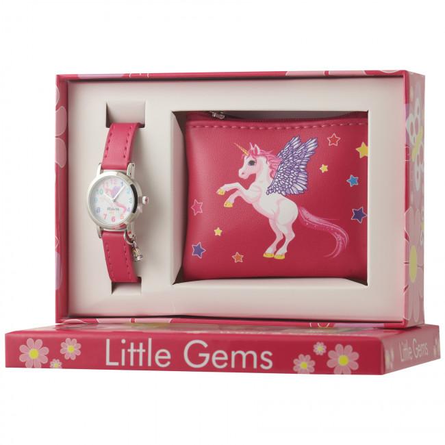Little Gems Watch & Coin Purse Gift Set - Unicorn pink 24mm