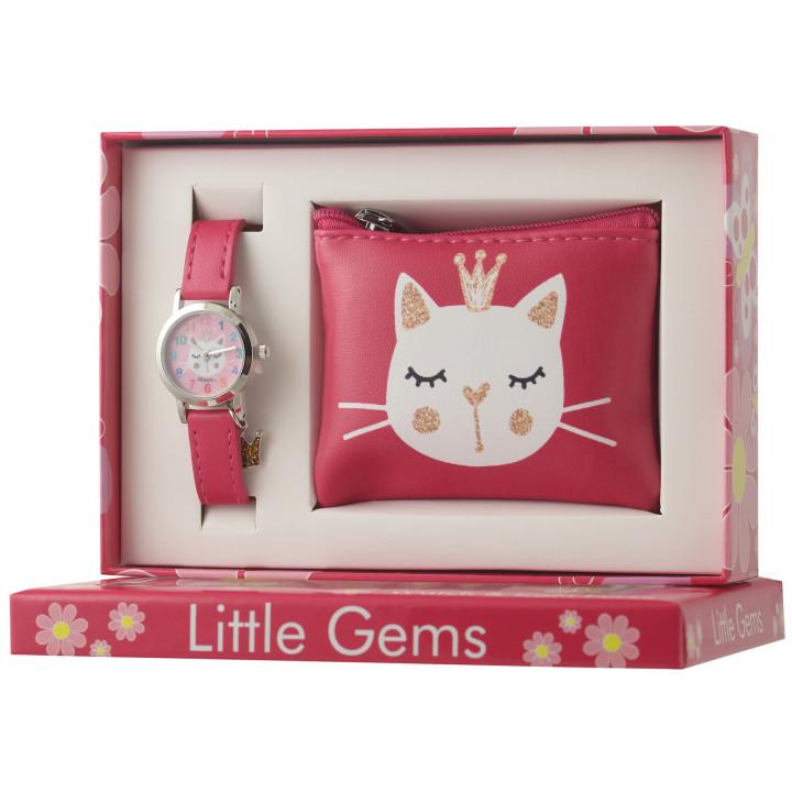 Little Gems Watch & Coin Purse Gift Set - Kitten pink 24mm