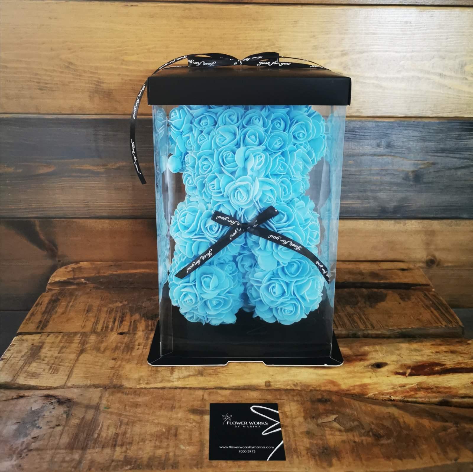 ARTIFICIAL TEDDY BEAR LIGHT BLUE SMALL SIZE