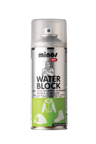 MINOS WATER BLOCK SPRAY 400ML (Διάφανο spray προστασίας από το νερό και τους ρύπους)
