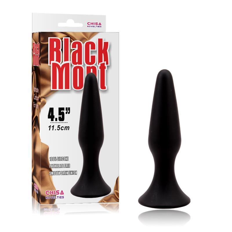 BLACK MONT SILICONE ANAL PLUG 4.5 INCH  BLACK