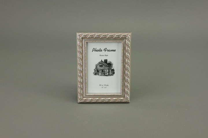 WOODEN FRAME 10X15CM OLD SILVER