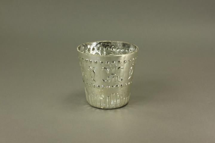 GLASS HURRICANE ANTIQUE SILVER 10CM